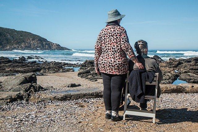 Elderley women on beach